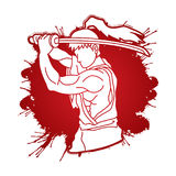 Samurai with sword katana, Sword man ready to fight. Graphic vector Royalty Free Stock Photos