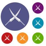 Samurai swords icons set Royalty Free Stock Photos