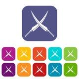 Samurai swords icons set flat Stock Photos