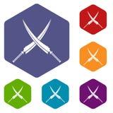 Samurai swords icons set hexagon Stock Photography