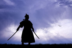 Samurai with swords. Illustration of Samurai at sunset Royalty Free Stock Photos