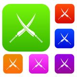 Samurai swords set color collection Royalty Free Stock Images