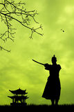 Samurai with swords at sunset Stock Images
