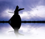 Samurai with swords at sunset Royalty Free Stock Images