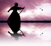 Samurai with swords at sunset. Illustration of Samurai at sunset Stock Photography