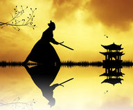 Samurai with swords at sunset. Illustration of Samurai at sunset Royalty Free Stock Photos