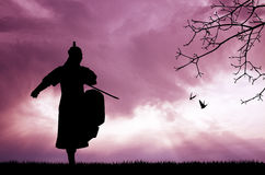 Samurai with swords at sunset. Illustration of Samurai at sunset Stock Photos