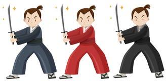 Samurai in three colors costume Stock Image