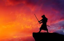 Samurai on top of mountain. Royalty Free Stock Photos
