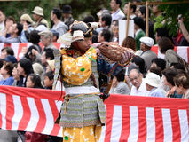 Samurai trumpeter at Jidai Matsuri parade, Japan. Royalty Free Stock Images