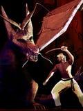 Samurai versus dragon Stock Images
