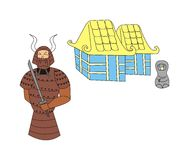 Samurai at the village. An illustration of a samurai standing in front of the village Royalty Free Stock Image
