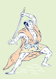 Samurai warrior. Vector art of a Samurai warrior  on white background Royalty Free Stock Photo