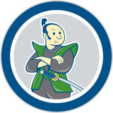 Samurai Warrior Arms Folded Circle Cartoon Royalty Free Stock Photo