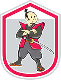 Samurai Warrior Arms Folded Shield Cartoon Stock Photos