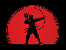Samurai Warrior with bow Royalty Free Stock Photography