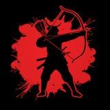 Samurai Warrior with bow royalty free illustration