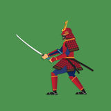 Samurai Warrior Brandishing Sword, Vector illustration Stock Photo