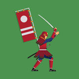 Samurai Warrior Brandishing Sword, Vector illustration Stock Images