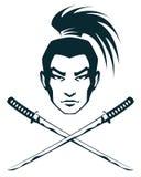 Samurai warrior and crossed katana swords Royalty Free Stock Photo