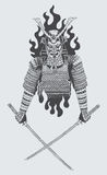 Samurai warrior. Illustration of samurai warrior holding sword Stock Photos