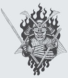 Samurai warrior. Illustration of samurai warrior holding sword Royalty Free Stock Photography