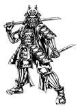 Samurai Warrior. An illustration of a Japanese samurai warrior holding two swords Royalty Free Stock Photos
