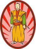 Samurai warrior katana sword. Illustration of a Samurai warrior with katana sword and fan Royalty Free Stock Images