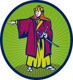 Samurai warrior katana sword. Illustration of a Samurai warrior with katana sword pointing to side set inside an oval Stock Photos