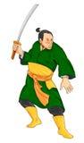 Samurai Warrior With Katana Sword. Illustration of a samurai warrior with katana sword in fighting stance on isolated white background Stock Photo