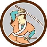 Samurai Warrior Katana Sword Circle Cartoon Stock Image