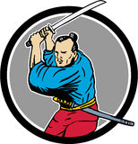 Samurai Warrior Katana Sword Circle Drawing Stock Photography