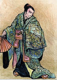 Samurai warrior with katana sword and fan. Illustration of a Samurai warrior with katana sword and fan Stock Photos