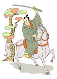 Samurai warrior with katana sword fighting stance Royalty Free Stock Photography