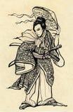 Samurai warrior with katana sword and hat. Illustration of a Samurai warrior with katana sword and hat Royalty Free Stock Photos