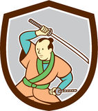 Samurai Warrior Katana Sword Shield Cartoon Royalty Free Stock Photo