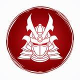 Samurai warrior mask. Samurai mask designed on grunge circle background graphic vector Stock Photo