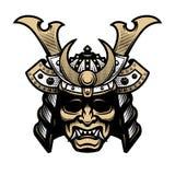 Samurai warrior mask. Traditional armor of japanese warrior. Vector illustration. Samurai warrior mask. Traditional armor of japanese warrior stock illustration