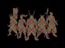 Samurai. Warrior pose designed using colorful pixels graphic vector Royalty Free Stock Images