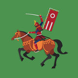 Samurai Warrior Riding Horse with Sword, Vector illustration Stock Photo