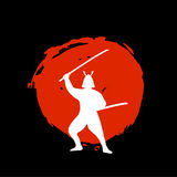Samurai Warrior Silhouette on red moon and black background. Isolated Vector illustration Stock Photos