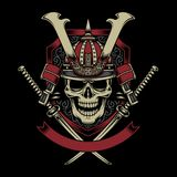 Samurai Warrior Skull with Crossed Katana Swords stock illustration