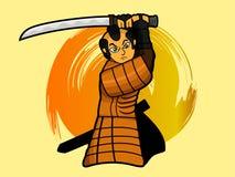Samurai warrior swinging sword or katana cartoon Stock Image