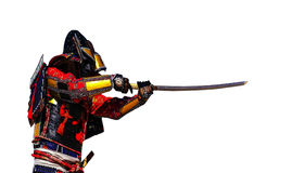 Samurai warrior with sword , isolated on the white  background. Samurai in ancient armor, with a sword ready to attack close-up Royalty Free Stock Photo