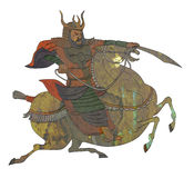 Samurai warrior with sword riding horse Royalty Free Stock Photos
