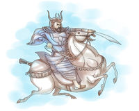 Samurai warrior with sword riding horse Stock Image