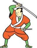 Samurai Warrior Wielding Katana Sword Cartoon Royalty Free Stock Image
