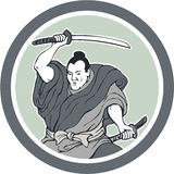 Samurai Warrior Wielding Katana Sword Circle. Illustration of a samurai warrior wielding katana sword in fighting stance viewed from front done in retro style Stock Image