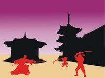 Samurai warriors. Colored image with red samurai silhouettes and black japanese building shapes Stock Photography