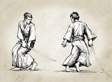 Samurai Warriors. Two Samurai warriors face each other Stock Photography